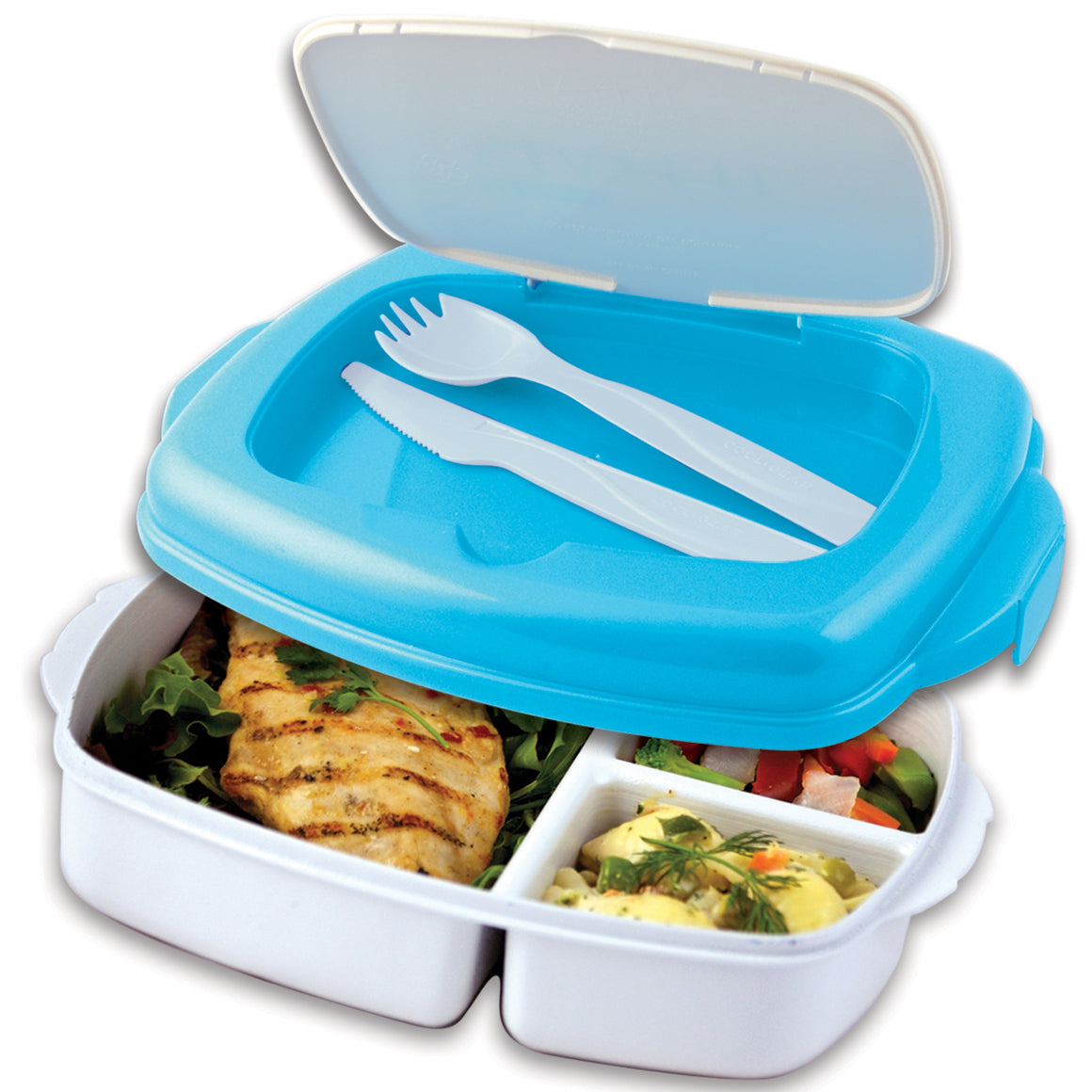 White, Blue Lunch 2 Go Food Container at Cool Gear Food Containers