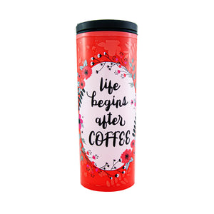 Cool Gear | Commuter 18 Oz Travel Mug in Red / Life Begins After Coffee