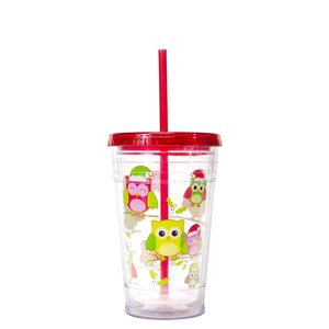 Red / Owls 20 Oz Holiday Chiller at Cool Gear Winter Holiday