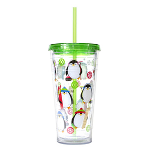 Green / Penguins 24 Oz Holiday Chiller at Cool Gear Winter Holiday