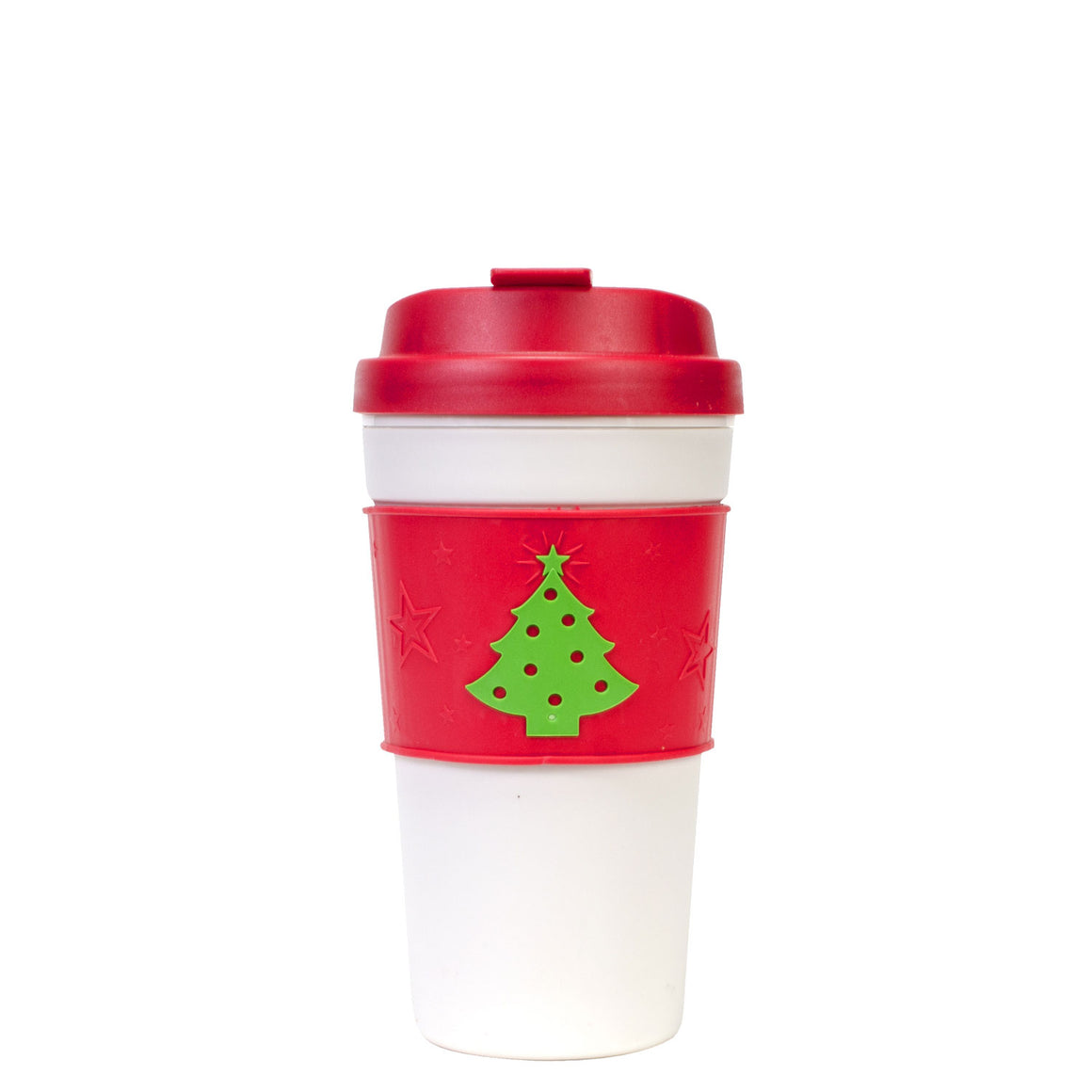Red / Christmas Trees 15 Oz Holiday Coffee Mug with Reversible Band at Cool Gear Winter Holiday