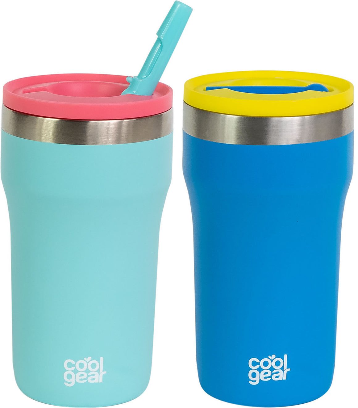 2 Pack COOL GEAR Eclipse 12oz Stainless Steel Tumbler | Pull up sipper