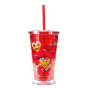 Red / Emoji Hearts 20 Oz Valentines Printed Chiller at Cool Gear Valentines