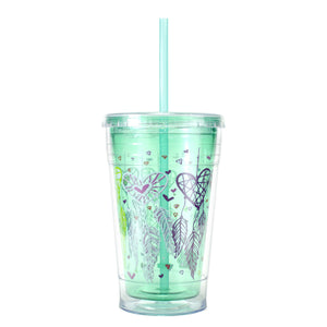 Teal / Heart Dreamcatchers 20 Oz Valentines Printed Chiller at Cool Gear Valentines