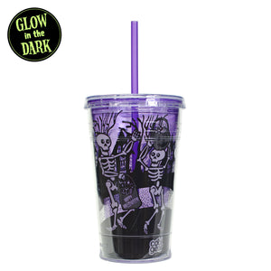 Purple / Skeletons With Candy 18 Oz Glow In The Dark Halloween Chiller at Cool Gear Halloween