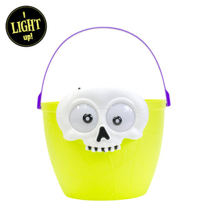 Lime Green Light Up Halloween Skull Candy Bucket at Cool Gear Halloween