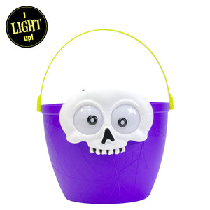 Purple Light Up Halloween Skull Candy Bucket at Cool Gear Halloween