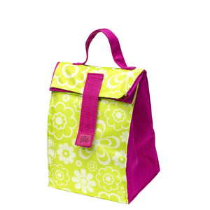 Pink / Green Flowers Kids Foldable Insulated Lunch Bag at Cool Gear Lunch Bags
