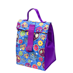 Purple / Blue Peace Kids Foldable Insulated Lunch Bag at Cool Gear Lunch Bags