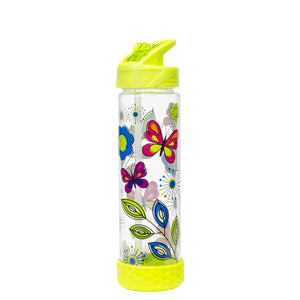 Green / Butterflies 22 Oz Printed Straight Wall Water Bottle at Cool Gear Water Bottles