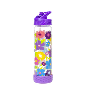 Purple / Floral 22 Oz Printed Straight Wall Water Bottle at Cool Gear Water Bottles