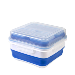 White, Blue Expandable Bento Box at Cool Gear Food Containers