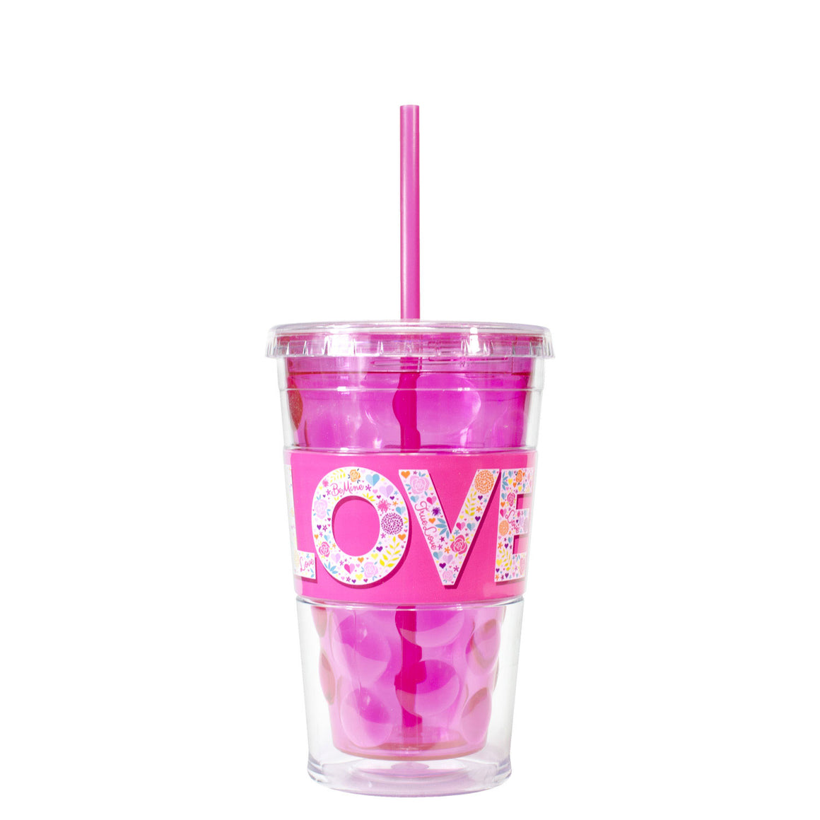 Pink / Love Flowers 18 Oz Valentines Razor Chiller at Cool Gear Valentines