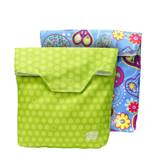 Green Dots / Blue Peace Reusable Sandwich Bags 2-Pk at Cool Gear Lunch Bags