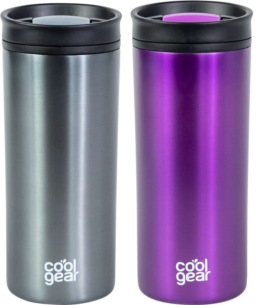2 Pack COOL GEAR 16 oz Amelia Coffee Travel Mug with Spill Proof Slider Lid