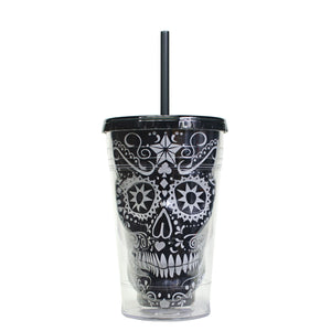 Black / White 18 Oz Sugar Skull Halloween Chiller at Cool Gear Halloween