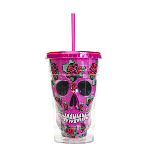 Pink / Roses 18 Oz Sugar Skull Halloween Chiller at Cool Gear Halloween