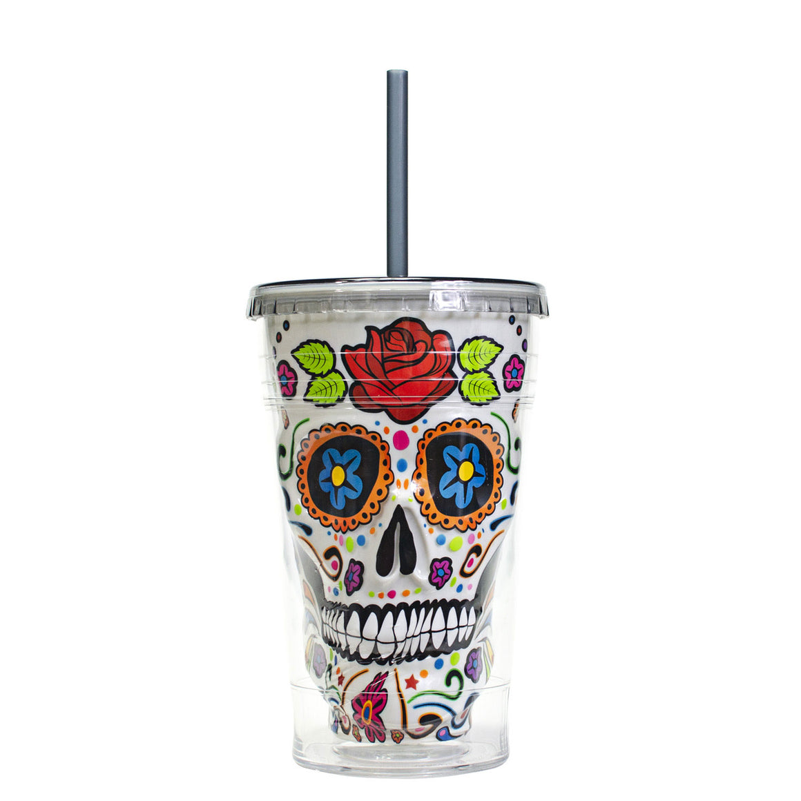 White / Rose 18 Oz Sugar Skull Halloween Chiller at Cool Gear Halloween