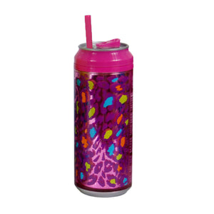 Pink / Cheetalicious 16 Oz coolgearcan (With Straw) at Cool Gear Coolgearcans