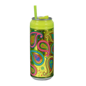 Green / Paisley Passion 16 Oz coolgearcan (With Straw) at Cool Gear Coolgearcans