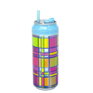 Aqua / Rad Plaid 16 Oz coolgearcan (With Straw) at Cool Gear Coolgearcans
