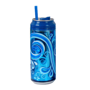 Dark Blue / Splish Splash 16 Oz coolgearcan (With Straw) at Cool Gear Coolgearcans