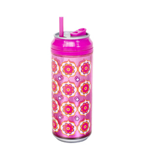 Pink / Wall Flowers 16 Oz coolgearcan (With Straw) at Cool Gear Coolgearcans