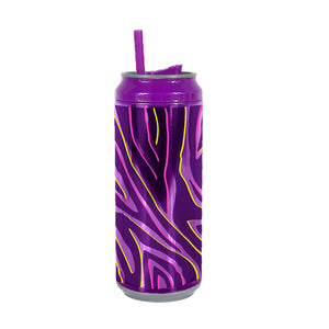 Purple / Zipster Zebra 16 Oz coolgearcan (With Straw) at Cool Gear Coolgearcans