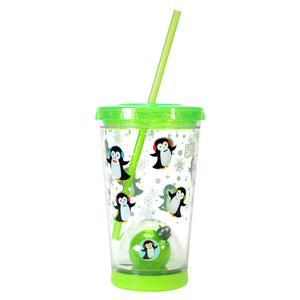 Forest Green / Penguins 21 Oz Light Up Holiday Ornament Tumbler at Cool Gear Winter Holiday