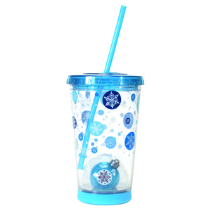 Light Blue / Snowflakes 21 Oz Light Up Holiday Ornament Tumbler at Cool Gear Winter Holiday