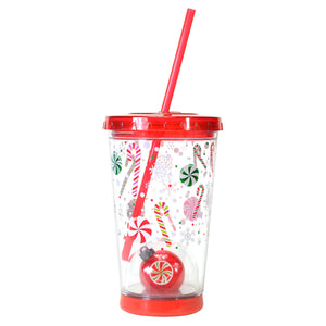 Red / Holiday Candy 21 Oz Light Up Holiday Ornament Tumbler at Cool Gear Winter Holiday
