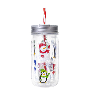 Clear / Penguins And Snowmen 16 Oz Holiday Mason Jar at Cool Gear Winter Holiday