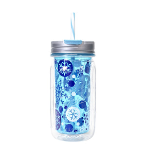 Light Blue / Snowflakes 16 Oz Holiday Mason Jar at Cool Gear Winter Holiday