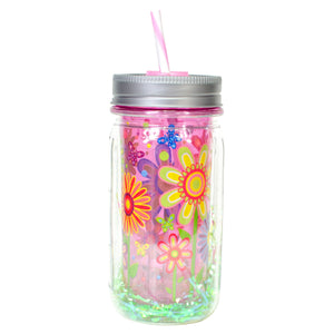 Cool Gear | 16 Oz Easter Double Wall Mason Jar in Pastel Pink / Flowers