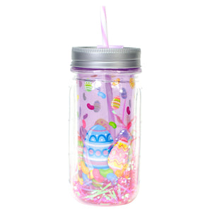 Cool Gear | 16 Oz Easter Double Wall Mason Jar in Pastel Purple / Eggs
