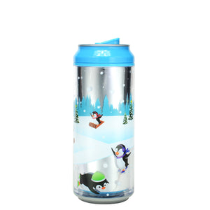 Bright Blue / Playful Penguins 16 Oz Holiday Foil coolgearcan at Cool Gear Winter Holiday