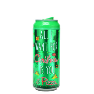 Forest Green / All I Want For Xmas 16 Oz Holiday Foil coolgearcan at Cool Gear Winter Holiday