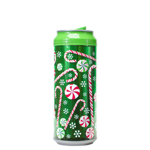 Forest Green / Candy Cane Craze 16 Oz Holiday Foil coolgearcan at Cool Gear Winter Holiday