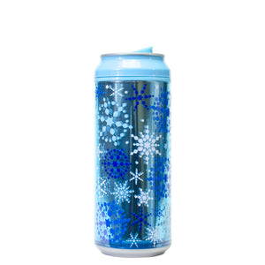 Light Blue / Shimmering Snow 16 Oz Holiday Foil coolgearcan at Cool Gear Winter Holiday
