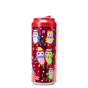 Red / Holiday Owls 16 Oz Holiday Foil coolgearcan at Cool Gear Winter Holiday