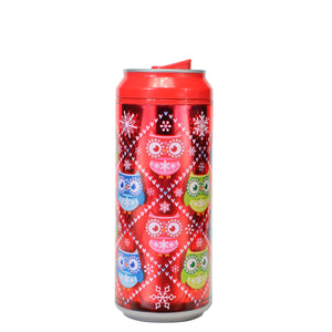 Red / Whoooo Wore It Better 16 Oz Holiday Foil coolgearcan at Cool Gear Winter Holiday