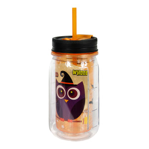 Orange / Owls 16 Oz Halloween Mason Jar at Cool Gear Halloween
