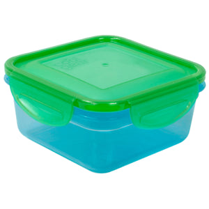 Blue / Green 14.8 Oz Snap N Seal Small Square Food Container at Cool Gear Food Containers
