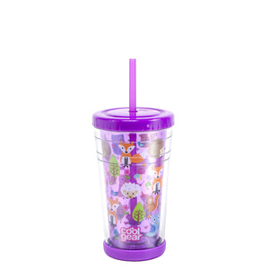 Bright Purple / Forest Friends 12 Oz Printed Chiller (With Bumper) at Cool Gear Kids,Tumblers