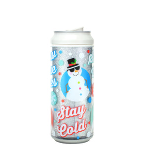 White / Snow Way 16 Oz Holiday Glitter coolgearcan at Cool Gear Winter Holiday