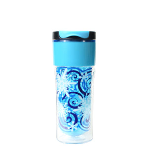 Bright Blue / Snowflake Swirl Gallery 14 Oz Holiday Coffee Mug at Cool Gear Winter Holiday