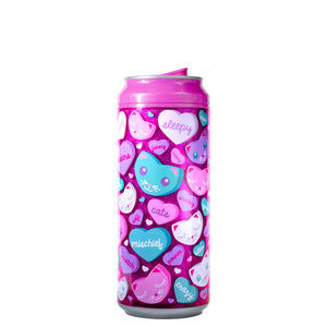 Pink / Candy Heart Cats 16 Oz Valentines Glitter coolgearcan at Cool Gear Valentines