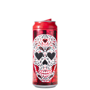 Red / Love Sugarskull 16 Oz Valentines Glitter coolgearcan at Cool Gear Valentines