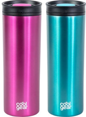 COOL GEAR 20oz Amelia Coffee Travel Mug with Spill Proof Slider Lid | 2 Pack Colored Tumbler