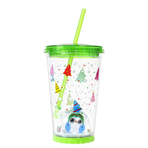 Forest Green / Penguin Trees 21 Oz Light Up Holiday Snowglobe Chiller at Cool Gear Winter Holiday